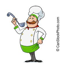 vector., character., spoon., bigote, cocinero, caricatura