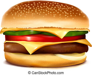 vector, cheeseburger., illustration.