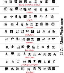 Vector chino símbolos afortunados con traducción inglesa