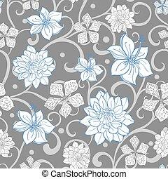 Vector cielo gris azul remolino florales sin costura