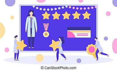 vector, cima, mejor, cuentas, medalla, estrella, premio, ganador, illustration., 5, reviews., rated, concedido, doctor, mujer
