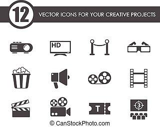 vector, cine, iconos