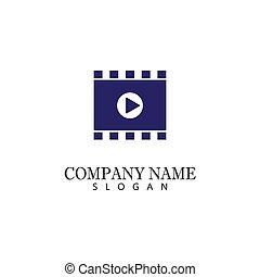 vector, cine, película, ilustración, película, diseño