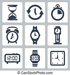 vector, clocks, conjunto, aislado, iconos