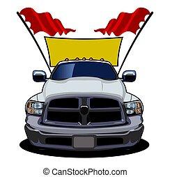 vector, coche, caricatura