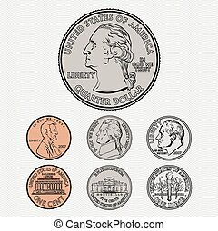 vector, coins, plano de fondo