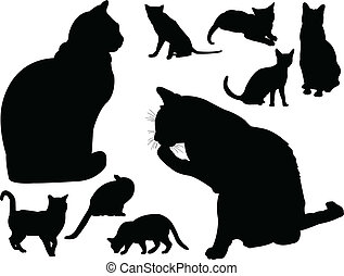 vector, -, colección, gato