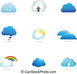 vector, colección, nube, iconos