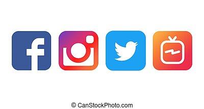 vector, colección, popular, papel, impreso, logotipos, blanco, medios, social