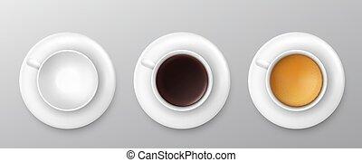 vector, collection., surtido, taza, vista, cima, café, ilustración