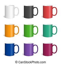vector, coloreado, mugs., conjunto, realista