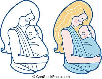 Vector con ilustración de bebé con madre abrazando al bebé en un cabestrillo