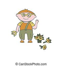 Vector con una flor