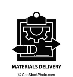 vector, concepto, entrega, materiales, editable, señal, negro, golpes, icono, ilustración
