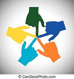 vector, concepto, muchas manos, -, unidad, conmovedor, uno al otro, icono