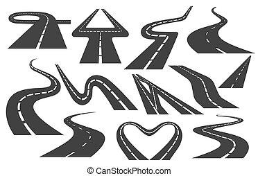 vector, conjunto, bobina, markings., o, camino, asfalto, doblando, dirección, transporte, carreteras, diferente, illustrations., curvo, carretera