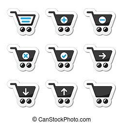 vector, conjunto, carro de compras, iconos