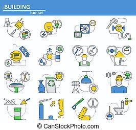 Vector conjunto de construcción y materiales de construcción iconos en delgada línea de estilo. Gas, electricidad. Website UI y el icono web móvil. Ilustración de diseño.