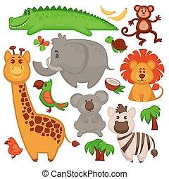 Vector conjunto de diferentes animales africanos lindos.