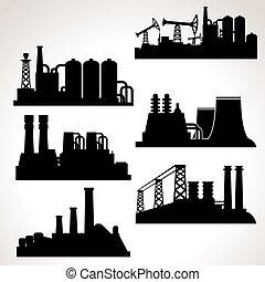 Vector conjunto de edificios industriales