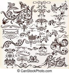 Vector conjunto de elementos caligráficos para el diseño. Vector caligráfico