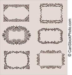 Vector conjunto de elementos de diseño caligráfico y divisores de decoración