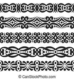 Vector conjunto de fronteras negras sin costura