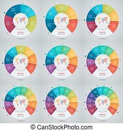 Vector conjunto de gráficos para gráficos, gráficos, diagramas. Un concepto en círculo de negocios