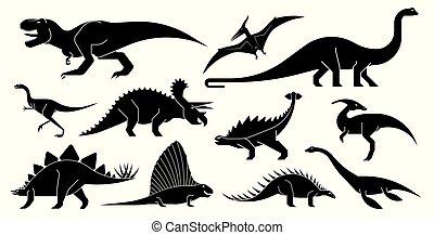 Vector conjunto de iconos de dinosaurios geométricamente estilizados.