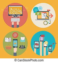 Vector conjunto de iconos de diseño plano para blogs, diseño web, seo, redes sociales. Conceptos de negocios: compras en línea, educación, educación, publicidad, desarrollo, comunicaciones, analíticos, servicios móviles y aplicaciones
