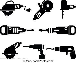 vector, conjunto, herramientas, eléctrico, icono