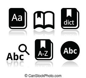 vector, conjunto, libro, diccionario, iconos