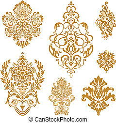 vector, conjunto, ornamento, oro, damasco