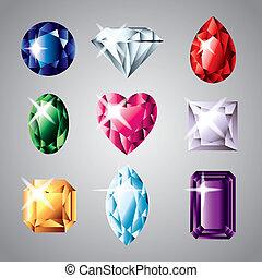 vector, conjunto, piedras preciosas, diamantes