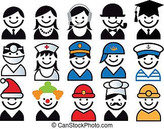 vector, conjunto, profesión, gente, icono