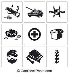 vector, conjunto, refugees, lucha, iconos