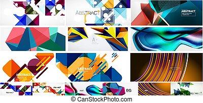 vector, conjunto, resumen, ilustración, banderas, medios, aviadores, cubiertas, social, backgrounds.