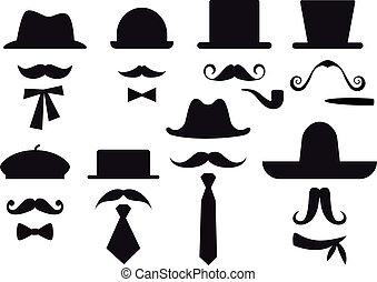 vector, conjunto, sombreros, bigote