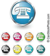 vector, conjunto, teléfono, icono