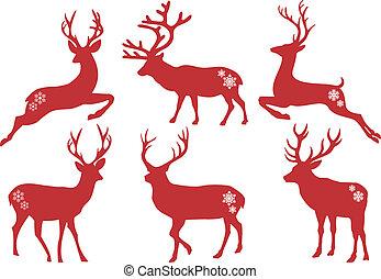 vector, conjunto, venado, navidad, ciervos