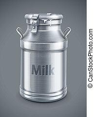 vector, contenedor, lata, leche
