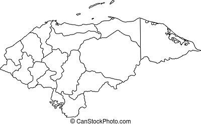 vector, contorno, map., ilustración, honduras, negro