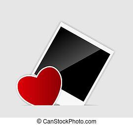 vector, corazón, blanco, instante, foto, ilustración