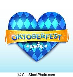 vector, corazón, oktoberfest, ilustración, azul, decoración