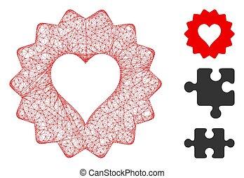 vector, corazones, muestra, tela, ilustración, malla, polygonal