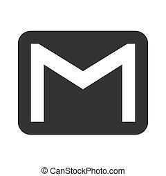 vector, correo, icono
