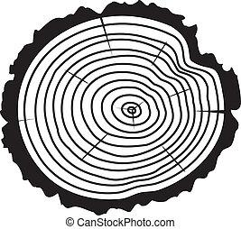 Vector cortado de madera de un tronco de árbol