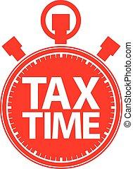 vector, cronómetro, icono, tiempo, ilustración, rojo, impuesto
