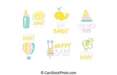 vector, cuadros, lindo, illustration., azul, newborn., inscripciones, colores, amarillo, conjunto