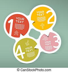 vector, cuatro, infographic, pasos, papel, plantilla, círculo